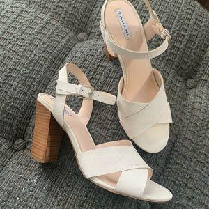 Tahari white sandals, size 9